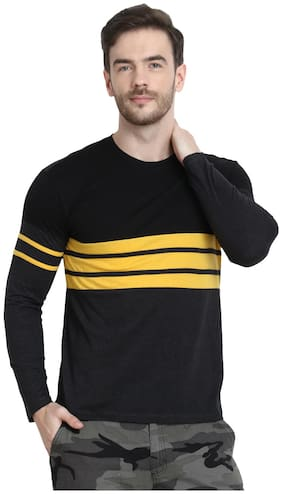 URBAN VIEW Men Black Regular fit Cotton Round neck T-Shirt - Pack Of 1