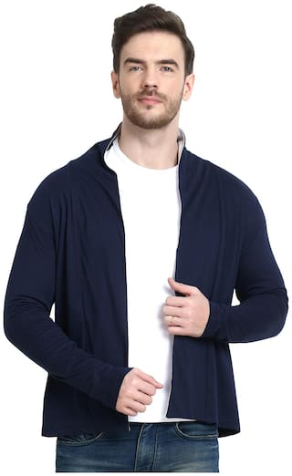 URBAN VIEW Men Blue Solid Shrug