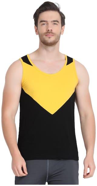 URBAN VIEW 1 Sleeveless Scoop Neck Men Gym Vest - Yellow