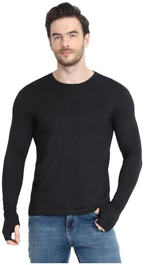 URBAN VIEW Men Black Regular fit Cotton Round neck T-Shirt - Pack Of 1