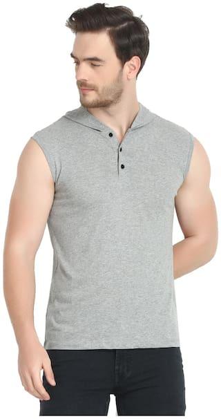 URBAN VIEW Men Grey Regular fit Cotton Hood T-Shirt