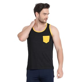 URBAN VIEW 1 Sleeveless Scoop Neck Men Gym Vest - Black
