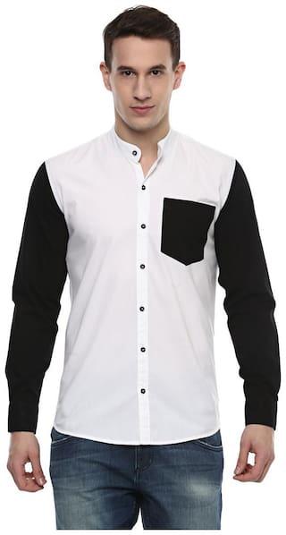 Urbano Fashion Men White Solid Slim Fit Casual Shirt