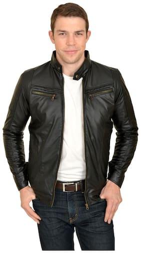 Men Leather;Blended Full Sleeves Jacket
