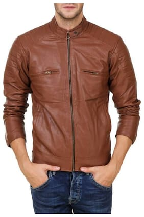 Men Leather;Blended Long Sleeves Leather Jacket