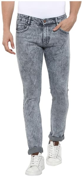 Urbano Fashion Men's Light Grey Slim Fit Jeans with Stretch