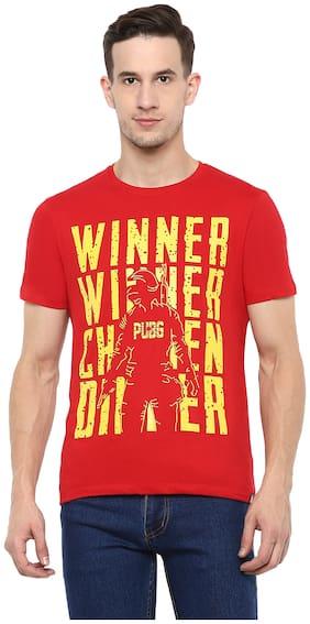 Men Round Neck Graphic Print T-Shirt