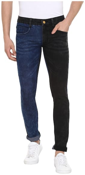 Urbano Fashion Men Mid rise Slim fit Jeans - Blue & Black