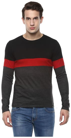 Urbano Fashion Men's Black, Red, Grey Round Neck Full Sleeve Cotton T-Shirt