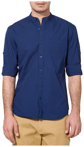 Urbano Fashion Blue Solid Casual Shirt for Men