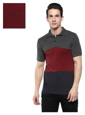 Urbano Fashion Men's Grey, Maroon, Navy Half Sleeve Cotton Polo T-Shirt