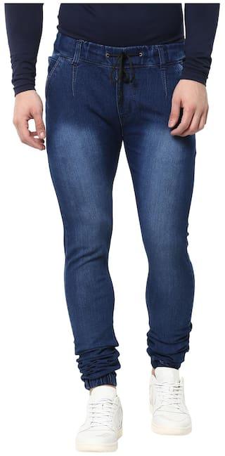 Urbano Fashion Men's Slim Fit Blue Stretch Jogger Jeans