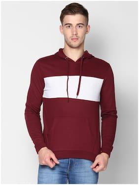 Urbano Fashion Men Maroon Hooded Sweatshirt