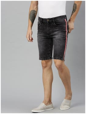 Men Striped Denim Shorts