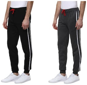 Urbano Fashion Men's Black & Charcoal Grey Cotton Track Pants - Pack of 2