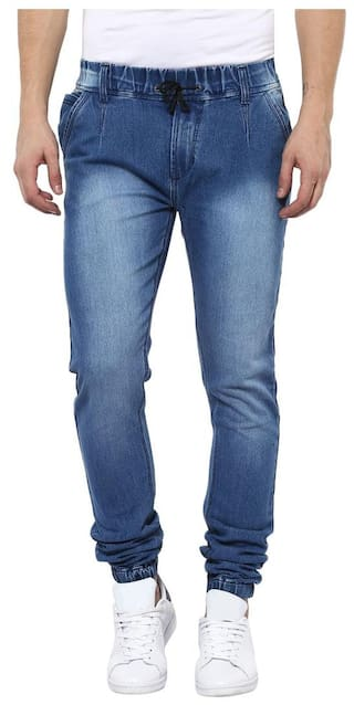 Urbano Fashion Men's Light Blue Slim Fit Jogger Jeans with Stretch