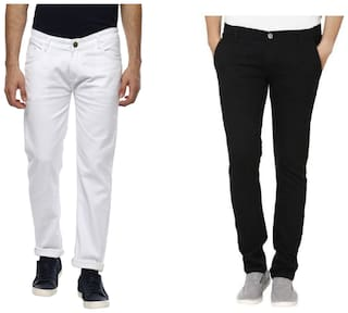 Urbano Fashion Men's White & Black Slim Fit Stretch Jeans - Pack of 2