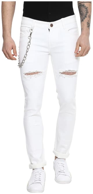 Urbano Fashion Men White Slim Fit Jeans