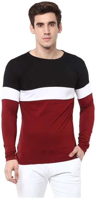 Urbano Fashion Men's Black;White;Maroon Round Neck Full Sleeve Cotton T-Shirt
