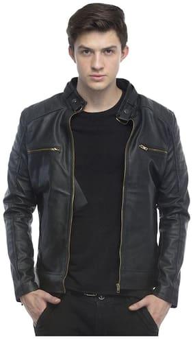 Men Leather;Blended Long Sleeves Jacket