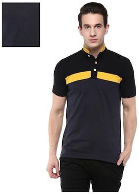 Men Mandarin Collar Solid T-Shirt