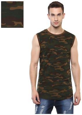 Urbano Fashion Men Slim fit Round neck Solid T-Shirt - Black