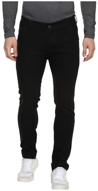 Urbano Fashion Men's Slim Fit Black Stretch Jeans