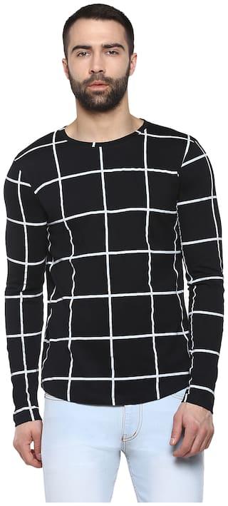 Urbano Fashion Men Slim fit Round neck Checked T-Shirt - Black