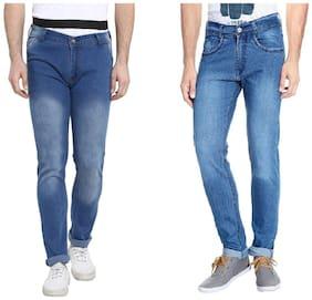 Urbano Fashion Men's Light Blue Slim Fit Stretch Jeans - Pack of 2