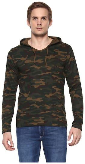 Urbano Fashion Men's Green Camouflage Hooded Full Sleeve Cotton T-Shirt