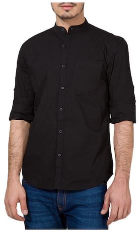 Urbano Fashion Men Slim Fit Casual shirt - Black