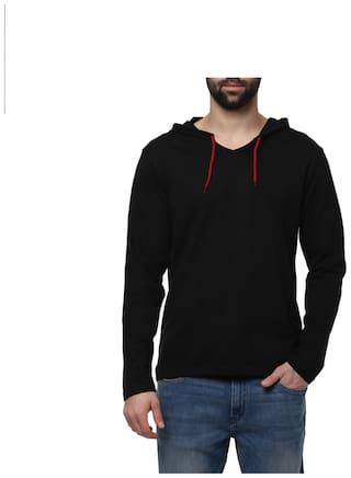 Urbano Fashion Men's Black Full Sleeve Hooded T-Shirt