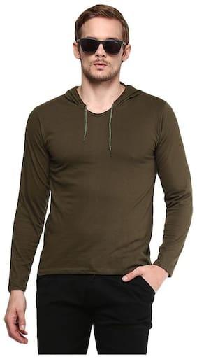Urbano Fashion Men's Olive Green Full Sleeve Hooded Cotton T-Shirt