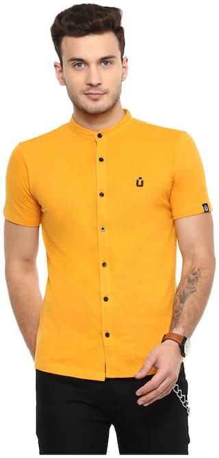 Urbano Fashion Men Yellow Solid Slim Fit Casual Shirt
