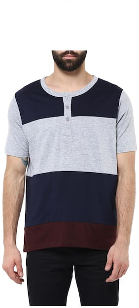 Urbano Fashion Men's Navy Blue;Grey;Brown Henley Neck Half Sleeve T-Shirt