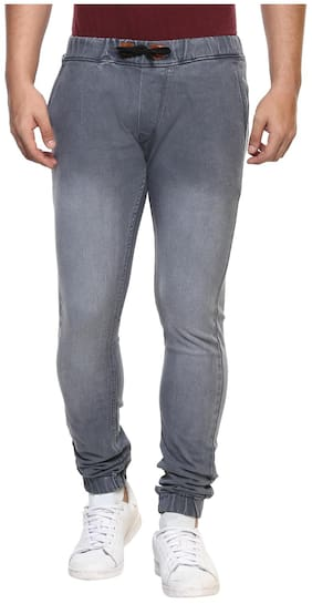 Urbano Fashion Men's Grey Slim Fit Jogger Jeans with Stretch