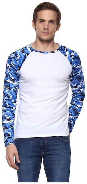Urbano Fashion Men's Blue Camouflage Round Neck Full Sleeve Cotton T-Shirt