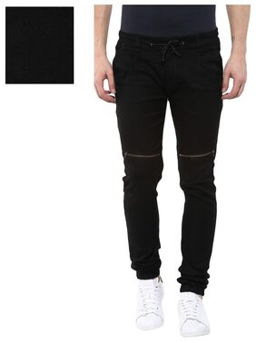 Urbano Fashion Men's Black Slim Fit Stretchable Zippered Jogger Jeans