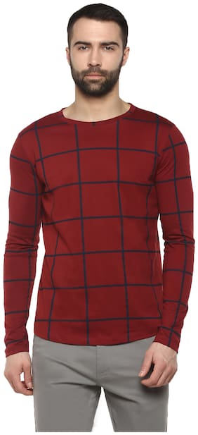 Men Round Neck Checked T-Shirt