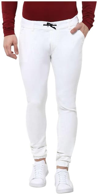 Urbano Fashion Men White Jogger Jeans