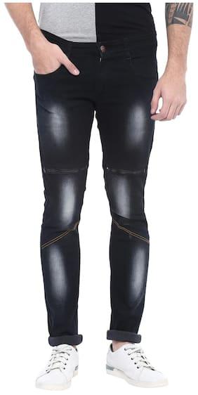 Urbano Fashion Men's Black Zippered Slim Fit Stretchable Jeans