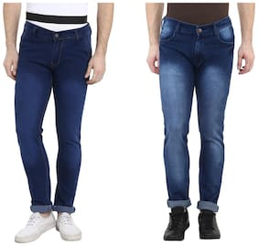 Urbano Fashion Men's Blue Slim Fit Stretch Jeans - Pack of 2