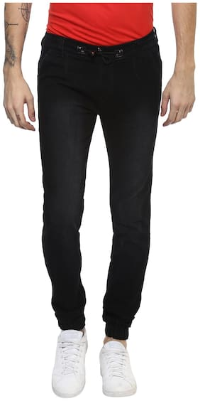 Urbano Fashion Men Mid rise Jogger Jeans - Black