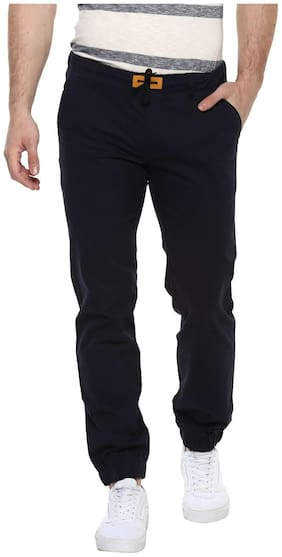Urbano Fashion Men's Navy Blue Slim Fit Stretch Casual Chino Joggers