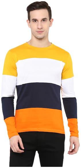 Men Round Neck Colorblocked T-Shirt