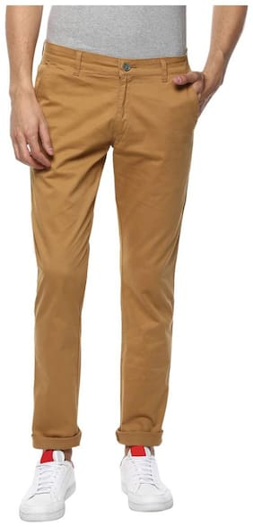 Urbano Fashion Men's Light Khaki Slim Fit Stretchable Casual Chinos