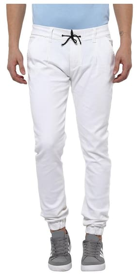 Urbano Fashion Men's White Slim Fit Stretch Jogger Jeans