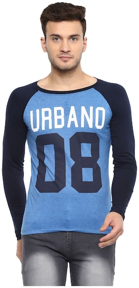 Urbano Fashion Men's Blue Full Sleeve Printed Cotton T-Shirt