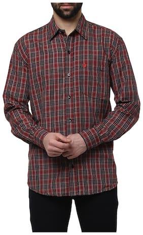 Urbano Fashion Men's Maroon & Brown Casual Slim Fit Shirt