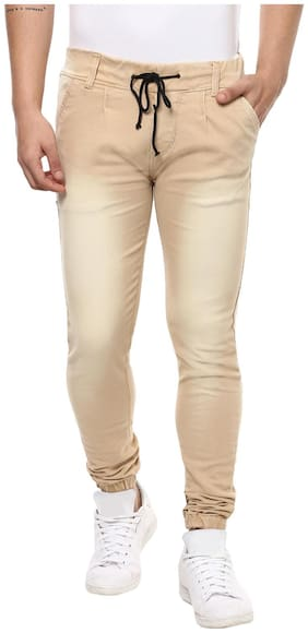 Urbano Fashion Men's Cream Slim Fit Jogger Jeans Stretchable